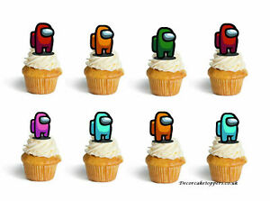 Among Us Birthday Cup Cake Toppers