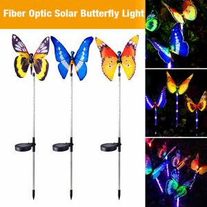 3 pcs LED Solar Powered Butterfly Fiber Optic Fairy String Outdoor Garden Lights