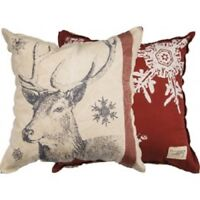 "Reindeer & Snowflake 25"" Primitives by Kathy Christmas Pillow Holiday Deer NEW"