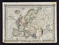 1846 Bocage Map - Europe - Italy Spain France Germany Austria Britain Sweden