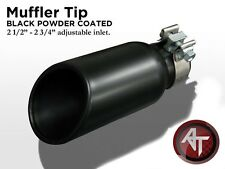 """Black Exhaust Pipe Muffler Tip Universal 2 3/4"""" Inlet w/ Clamp 1PC"""