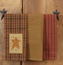 Country Star and Red Berries Towel Set/3 Dishtowels. 3 Tea Towels