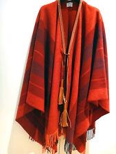 Chic! NEW Authentic HERMES poncho Red Orange Women Wool Tassel