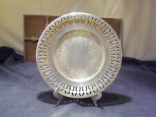"""Vtg~Academy~27B~Silver on Copper 7.25"""" OrnateEtched Reticulated Snack Smoke Dish"""