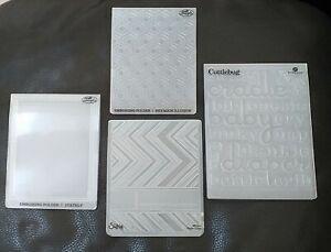 4x Embossing folder Sizzix Craft Concepts Cuttlebug ■ Hexagon Schrift Streifen