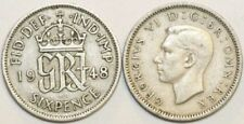 1947 Year of Issue George VI Sixpence Coins (1936-1952)