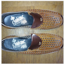 Rieker Antistress Brown Tan Leather Slip On Cut out Shoes Size UK 5