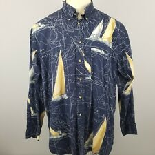 NAUTICA Men's XL Shirt Sail Boat Map All Over Print Blue Button Front L/S VTG