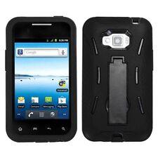 Hybrid Symbiosis Phone Case Black w Kickstand for LG Optimus Elite VM696 LS696