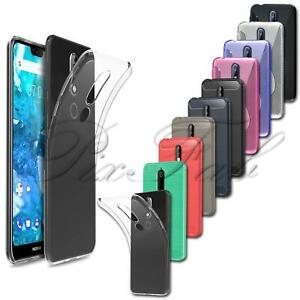 For Nokia 7.1 TA-1100 New Slim Clear Black Carbon Fibre Silicone Gel Phone Case