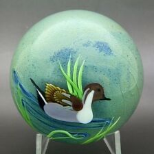 "ED SEAIRA ORIENT AND FLUME Canada Goose Art Glass Paperweight,Aprx 2.75""Hx2.75""W"