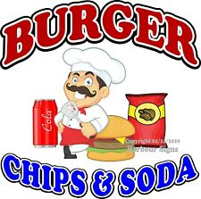Burger Chips Soda DECAL (CHOOSE YOUR SIZE) Food Truck Concession Sticker