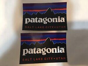 RARE Lot of 2- Patagonia Salt Lake City Utah UT Logo Sticker Decal Mountains SLC