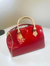 Arcadia Handbag Women's Red Patent Leather Purse Two Handles Medium