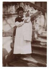 PHOTO ANCIENNE Bébé Nourrice Métier 1910 Costume Tablier Enfant Femme Layette