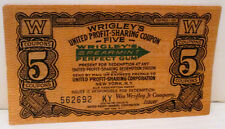 """WRIGLEY'S CHEWING GUM """"5"""" COUPON CERTIFICATE PROFIT SHARING PROGRAM"""