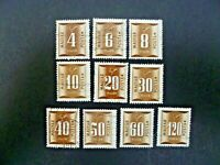 Hungary 1951 Ten Stamps Postage Due Issue Used - See Description & Images