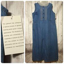 Denim Long Jean Jumper Dress Xl Pockets Modest Embroidered USA Made g.w. Graff