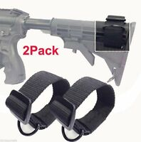2Pcs Universal Rifle Gun Shotgun Stock Single Point Sling Loop Adapter Strap