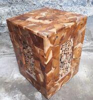 Exclusiv Holzhocker Beistelltisch Stuhl Couchtisch Bali Handarbeit Massivholz