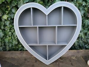 Next Wall Hanging Wood Effect Heart Shadow Box Shabby Chic Dark Grey