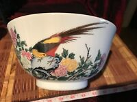 "Vintage Asian Lenox Porcelain Bowl, HO HO Bird w/ Peony Flower 8 3/8""x4 1/4"""