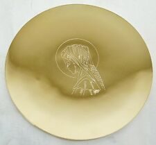 """5 3/4"""" GOLD PLATED PATEN W/ ENGRAVED MARY DESIGN (CHALICE, CHURCH RELIGIOUS CO.)"""