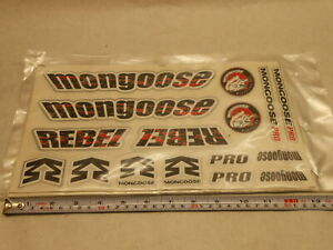 Mongoose Rebel BMX Bicycle Bike Decal set 16 Stickers Red/Black/ White on Clear
