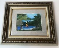Original Painting On Canvas By Lynda Sadecky, Sailboats In Tropical Scene.