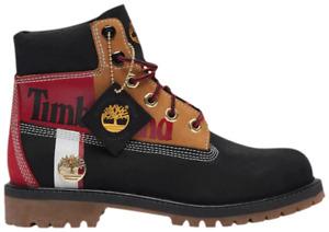 Timberland Premium 6 inch Waterproof Youth Women's Boots Black Nubuck Colorblock