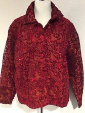 Coldwater Creek Size 1X New Dressy Red Beaded Jacket Velour Embroidered Lined