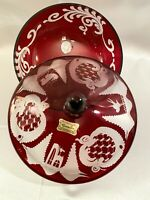 Amazing Egermann Czech Bohemian Ruby Red Cut to Clear Etched Lidded Candy Dish