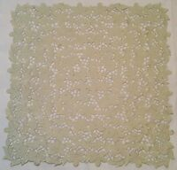 VINTAGE AUTHENTIC FLOWERS CUT EMBROIDERY LIGHT GREEN  SQUARE TABLECLOTH