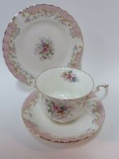 Royal Albert Serenity Teacup, Saucer and bread plate Trio Pink Pretty 3 pieces