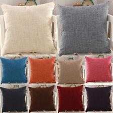 Classic Plain Color Throw Cushion Cover Home Sofa Linen Cotton Pillow Case New
