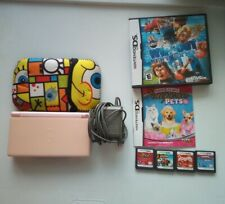 Nintendo DS Lite Pink Console Bundle W/ Charger 5 Games & Case Tested!