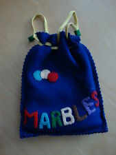 Vintage Felt Marbles Bag With 43 Marbles Toy Collectibles
