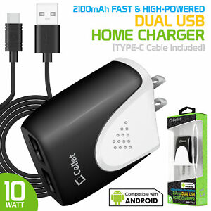 Cellet Dual USB Home Charger, 10 Watt / 2.1 Amp Wall Charger + USB Type-C Cable