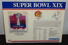 Super Bowl XIX 19 Patch and Stat Card San Francisco 49ers vs Miami Dolphins