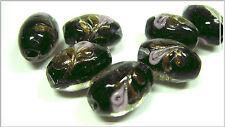 6 Lampwork Perlen oval schwarz mit Rose Goldsand 16*10mm