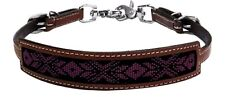 Beaded Western Medium Oil Leather Wither Strap For Breast Collar Horse Tack