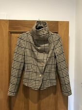 Women's MAXMARA Brown Check Houndstooth Wool High Neck Jacket UK 10 RRP £450