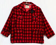 WOOLRICH Men's Red Black Buffalo Plaid Jacket Sz 50 Button Front