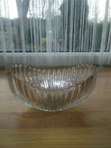 Vintage Art Deco-Style Cut Glass Crystal Ribbed Fruit Bowl