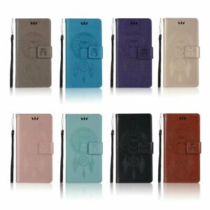 Magnetic owl Dreamcatcher leather stand Wallet flip Silicone phone cover case 22
