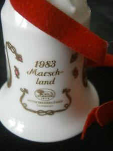 Hutschenreuther Weihnachtsglocke  1983  Marschland Weihnachten  Glocke Samtband