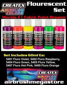 Createx Airbrush Colors Flourescent 60ml Set Importer Direct + Free Insured Post