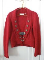 Anthropologie Charlie & Robin Womens Medium Red Wool Button Cardigan Sweater