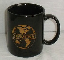 "Siemens Mug Cup Black Gold 3.75"" Advertising Vtg Coffee FREE US Ship"