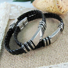 Personalized Stainless Steel Leather Bracelet- Engraved Free